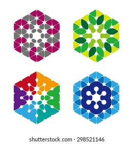 Hexagon icon. Vector design logo template.You can use in the media, public groups, machine , biotechnology, mutual aid associations and other company.