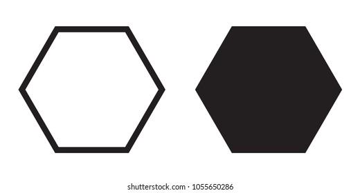 Hexagon icon of vector geometry hexagonal six sided polygon hexagon line