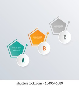 Hexagon infographic template design. Business concept infograph with 3 options, steps or processes. Vector visualization can be used for workflow layout, diagram, annual report, web