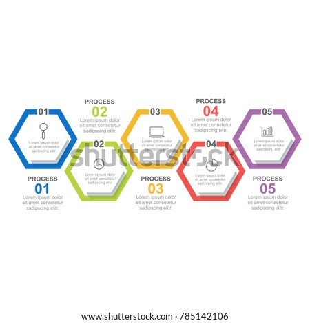 hexagon infographic template five process step stock vector royalty