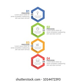 Hexagon infographic template four option or step for business presentation