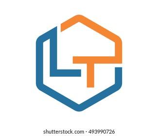 hexagon initial typography LT alphabet font image vector symbol logo