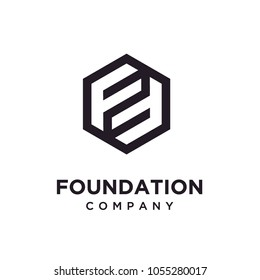 Hexagon Initials FF logo design inspiration