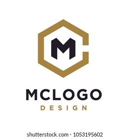 Hexagon Initials Monogram CM MC logo design