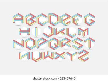 Hexagon isometric Font set