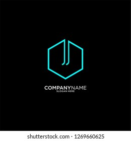 hexagon jj logo letter design concept in cyan color