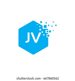 Hexagon JV Initial Logo designs with pixel texture Vector illustration
