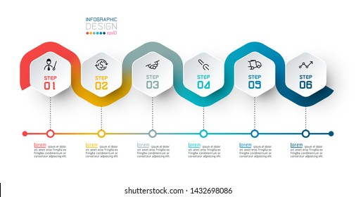 Hexagon label with color line linked infographics.