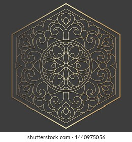 Hexagon laser cut panel design. Ornate vintage vector border template for laser cutting, stained glass, glass etching, sandblasting, wood carving, cardmaking, wedding invitations.