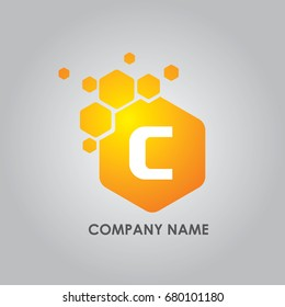 Hexagon Letter C Logo. C Letter Design Vector illustration with Hexagon.