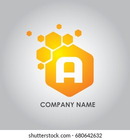 Hexagon Letter A Logo Design Vector Illustration. Usable as Techno and electronic company.