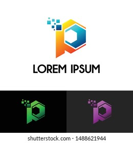 hexagon Letter P simple logo icon design vector