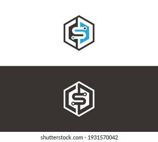 Hexagon letter S logo for technology, internet, web vector illustration