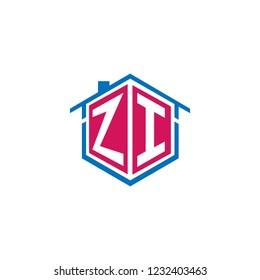 hexagon letters zi architecture logo, icon, symbol