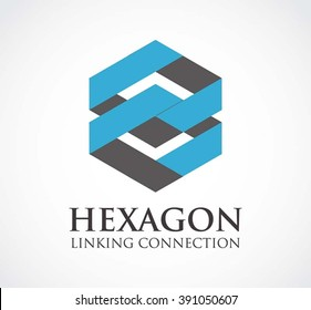 Hexagon link of ribbon connection abstract vector and logo design or template line group business icon of company identity symbol concept