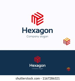 Hexagon logo. 3D cube logo template. Hexagon logotype with letter m and w