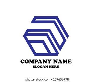 Hexagon Logo abstract corporate design vector template. Business Network Web Logotype concept icon.