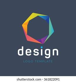 Hexagon logo. Creative logo. Colorful logo. Polygon logo. Origami logo. Marketing logo