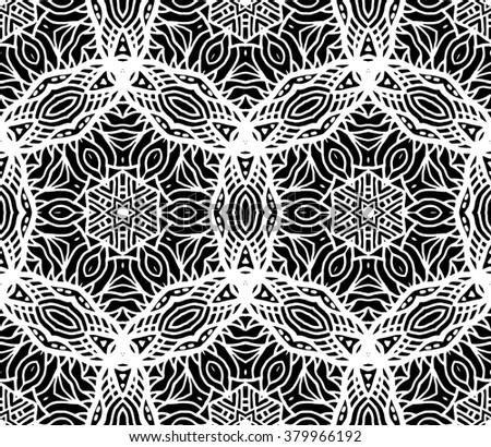 Hexagon Mandala Pattern Tribal Freehand Hexagon Stock Vector