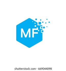 Hexagon MF Initial Logo designs with pixel texture Vector illustration