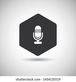 Hexagon microphone icon vector design. Unique vector icon design.