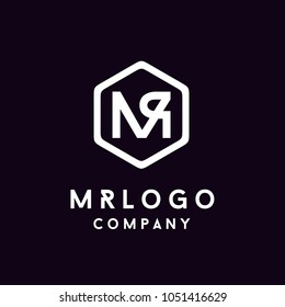 Hexagon Monogram Initials MR RM logo design