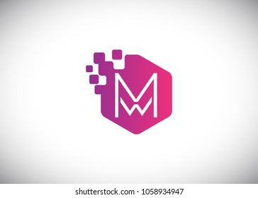 Hexagon MW Initial Logo designs with pixel texture