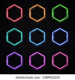 Hexagon neon banners set. Glowing electric borders collection. Hexagonal light signs with blank text space. Electric led lamp bright frame on transparent background. Vintage design vector illustration