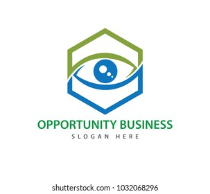 hexagon optical technology eye future vision vector logo design template