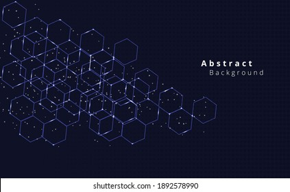 hexagon pattern design.Geometric abstract background with hexagons on dark blue color background.vector graphics.