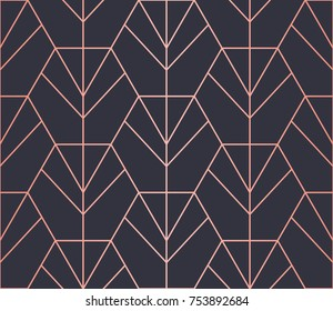 Hexagon Pattern. Endless. Seamless Pattern. Vector Lines. Trendy Copper Look.