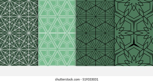 Hexagon pattern. set of seamless ornament. vector illustration. modern wallpaper. For design, background fills, card, banner. green color
