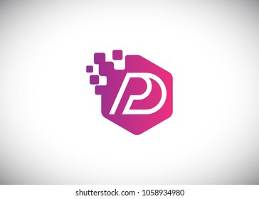 Hexagon PD Initial Logo designs with pixel texture