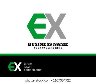 Hexagon or polygon initial E X logo concept vector, industrial logo.