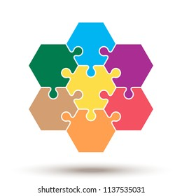 Hexagon puzzle pieces. Vector template. The concept of business solutions and teamwork. Seven colored connected elements. Free fields for text or infographics.