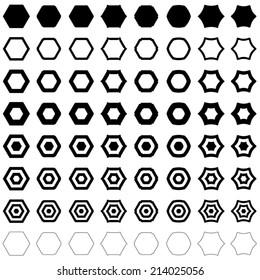 Hexagon set - vector version