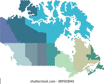 Hexagon shape Canada map on white background.Colored by states. Vector illustration.