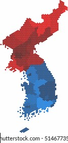 Hexagon shape North and South Korea map colored by province on white background, vector illustration.