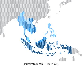 Hexagon shape South east Asia and nearby countries map. Vector illustration