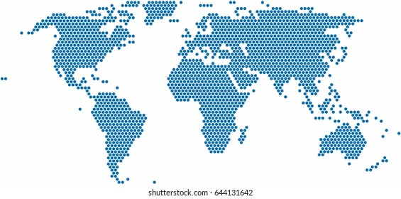 Hexagon shape world map on white background, vector illustration.