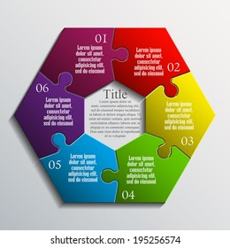 hexagon Six piece flat puzzle infographic presentation. 6 step circle business diagram. Six section compare service banner. Vector illustration template shape . 3d Abstract Background