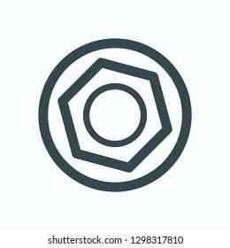 Hexagon socket icon, cap hex socket vector icon