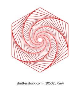 Hexagon spiral, line drawing, logo design, vector illustration. Circular geometric background.
