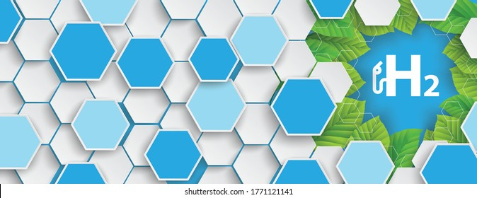 Hexagon structure green leaves banner with a icon of sydrogen gas pump. Eps 10 vector file.