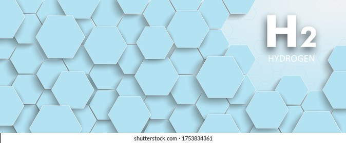 Hexagon structure with the text H2 Hydrogen on the blue background. Eps 10 vector file.