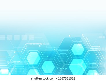 hexagon technology background with soft circuit board  hi-tech digital data connection system and computer electronic desing