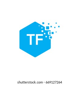 Hexagon TF Initial Logo designs with pixel texture Vector illustration