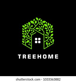 hexagon tree home logo icon