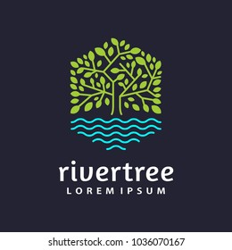 hexagon tree lake logo icon