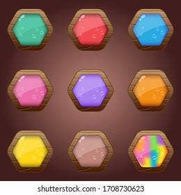 Hexagon wood style glossy light icon set.